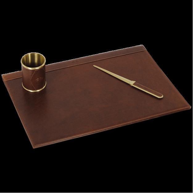 Set Scrivania pelle kit scrittoio 3 pz. in Cuoio Toscano | Acciaio