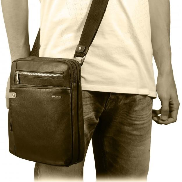 """Men's shoulder bag in leather for iPad 11"""""""