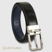 Cintura double face reversibile uomo Hexagon in pelle Vacchetta Nero/Blu