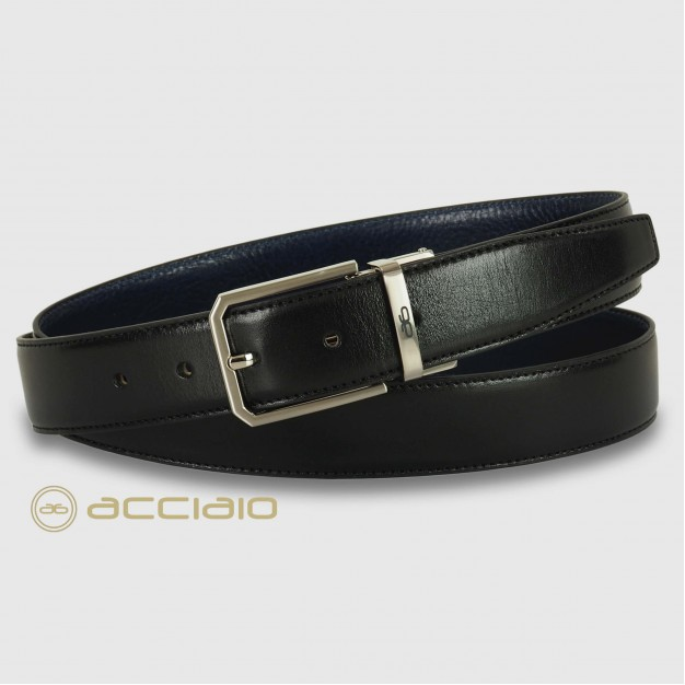 Cintura double face reversibile uomo in pelle Nero/Blu