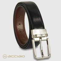 Cintura double face reversibile uomo Hexagon in pelle Vacchetta Nero/Castagno