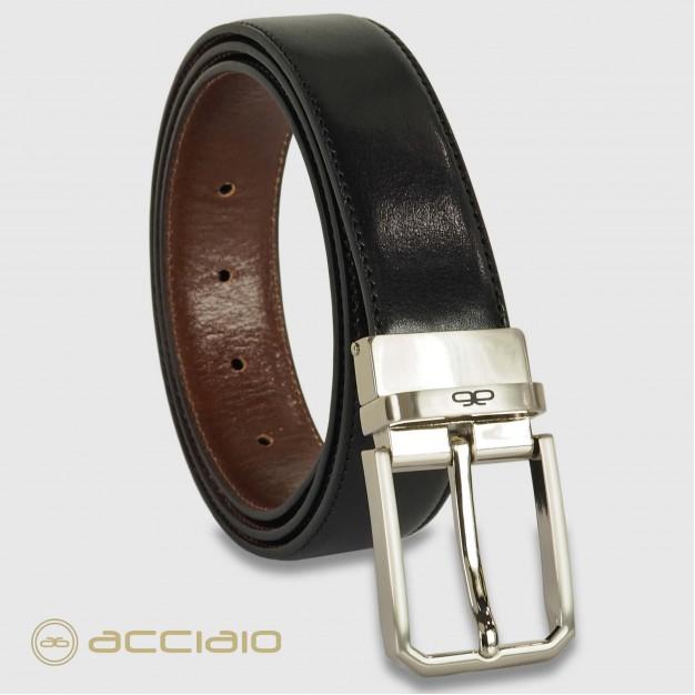 Cintura double face reversibile uomo in pelle Nero/Castagno