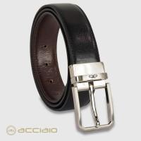 Cintura double face reversibile uomo Hexagon in pelle Vacchetta Nero/Moka