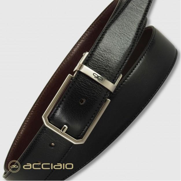 Cintura double face reversibile uomo in pelle Nero/Marrone