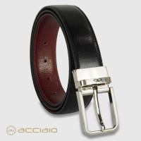 Cintura double face reversibile uomo Hexagon in pelle Vacchetta Nero/Bordeaux