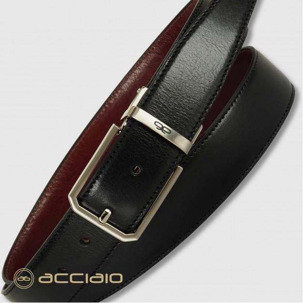 Cintura double face reversibile uomo in pelle Nero/Bordeaux