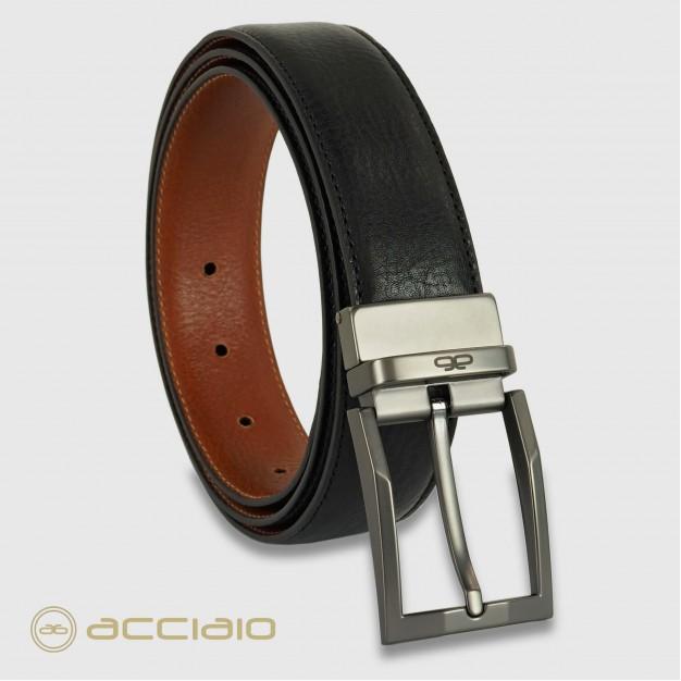 Cintura reversibile uomo double face pelle Nero/Cognac