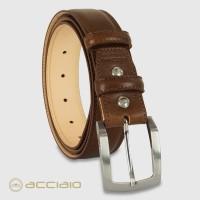 Cintura uomo classica Amber in pelle Vacchetta Castagno