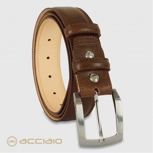 Cintura uomo classica Amber in pelle Vacchetta Marrone