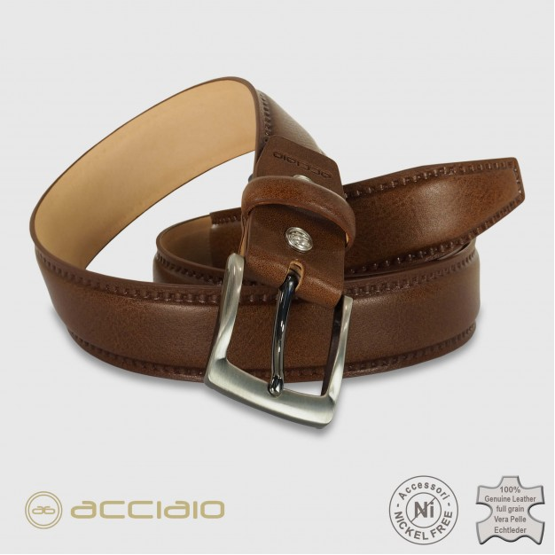 Cintura uomo classica Quarz in pelle Vacchetta Marrone