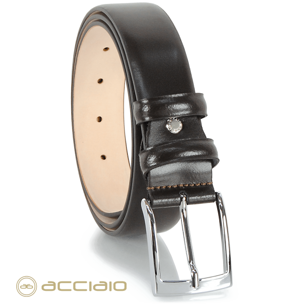 Elegant Men's belt non stitched in smooth leather brown