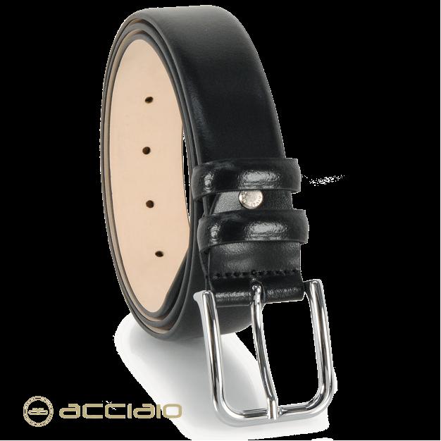 Elegant Men's belt non stitched in smooth leather black