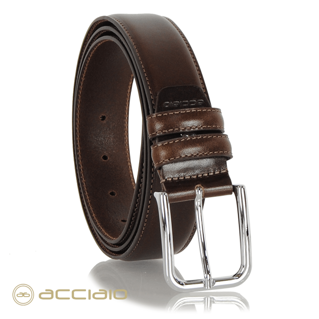 Men's belt in smooth leather Brown