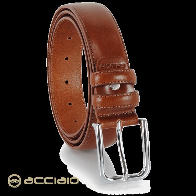Cintura uomo classica in pelle Cuoio liscio Cognac | Acciaio