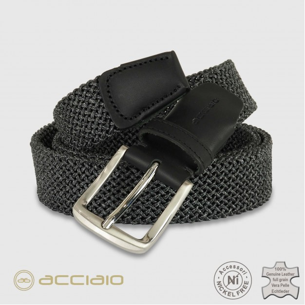 Cintura uomo intrecciata elastica Grigio Elite