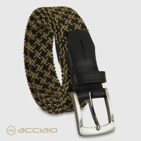 Cintura uomo intrecciata elastica Nero Army - fibbia Quarz