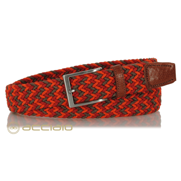 Braided stretch Belt elastic multicolor Orange Red | Acciaio