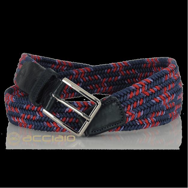 Braided stretch Belt elastic multicolor Blue Marine Red | Acciaio