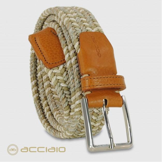 Cintura intrecciata elastica multicolore Beige Corda