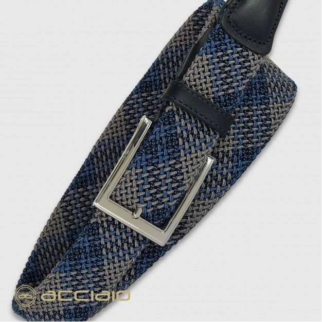 Cintura uomo intrecciata elastica Blu Wind