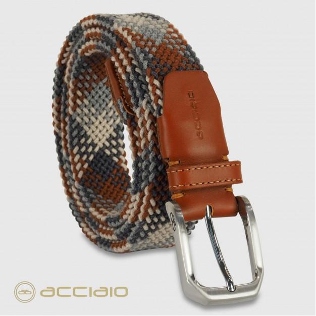 Cintura uomo intrecciata elastica Cognac Crete