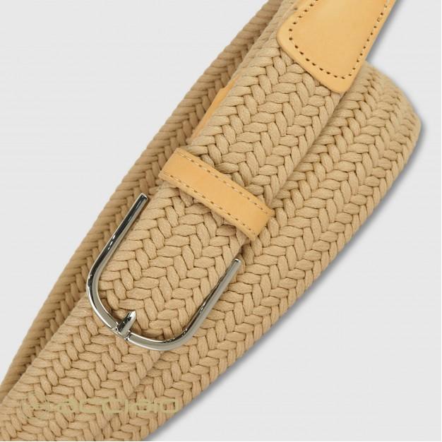 Cintura uomo intrecciata elastica Cuoio Nature
