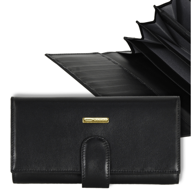 Wallet for Women long in Smooth leather with gussets