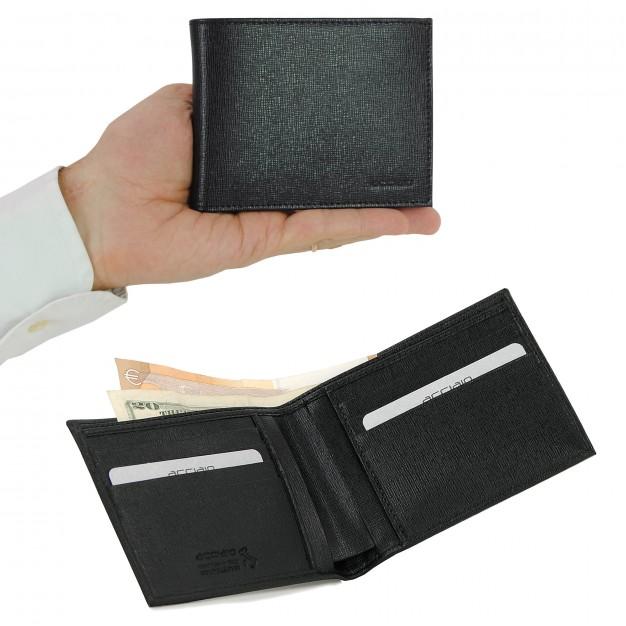 Portafoglio uomo con 8 carte di credito in Saffiano