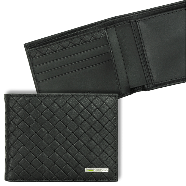 Wallet for Men with Purse and 4 cards in braided leather