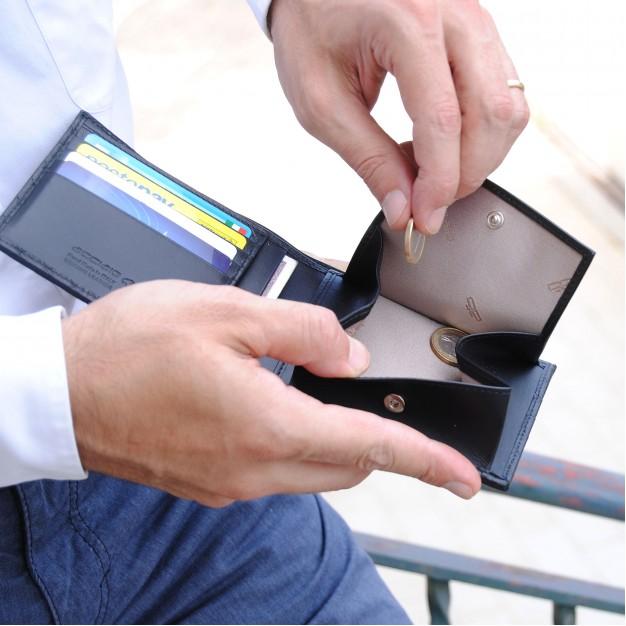 Portafoglio uomo con Portamonete e 4 carte in pelle Intrecciata