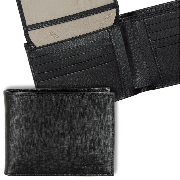 Wallet for Men with flap in Saffiano leather