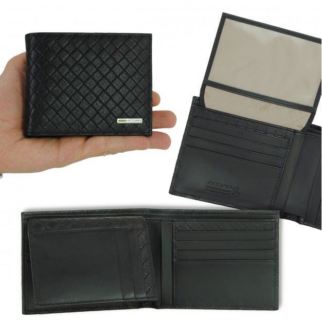 Wallet for Men with flap in braided leather