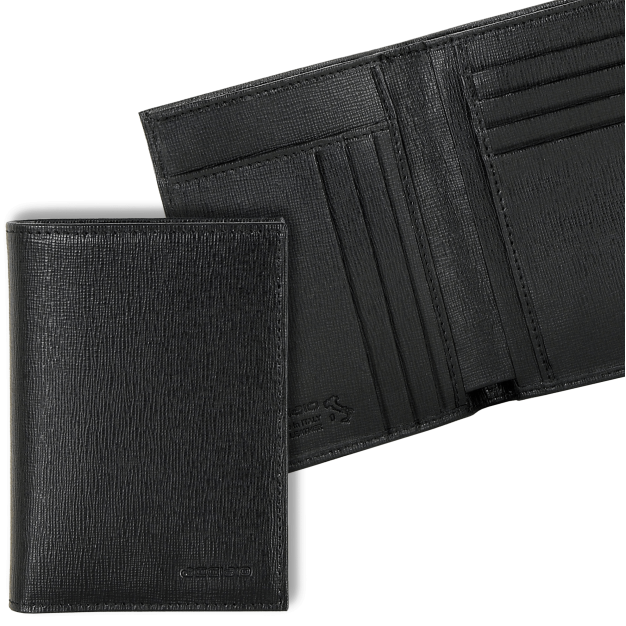 Men's Vertical Wallet in Saffiano leather 7 credit card