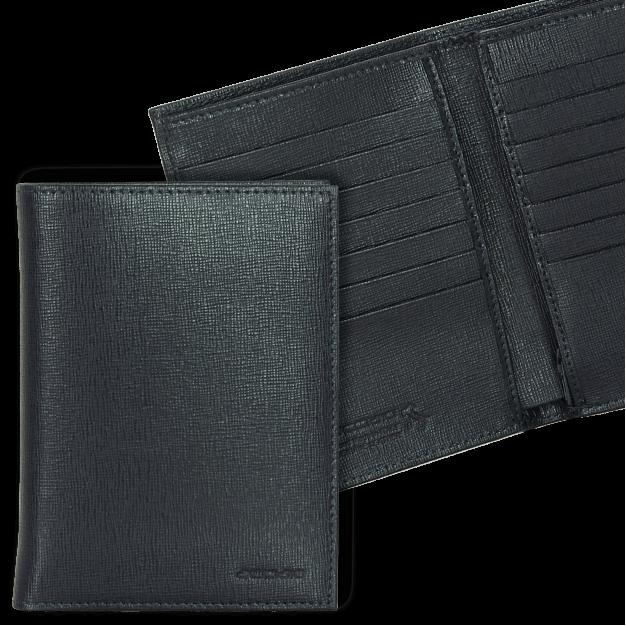 Portafoglio uomo Verticale in Saffiano, 14 carte credito e zip
