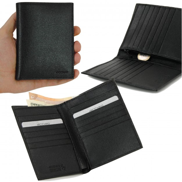 Men's Vertical Wallet in Saffiano, 14 credit cards Zip
