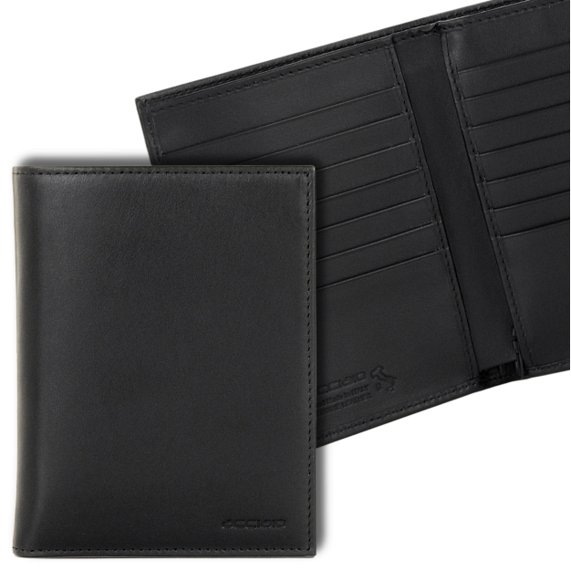 Wallet for Men Vertical in Smooth leather, 14 credit cards Zip