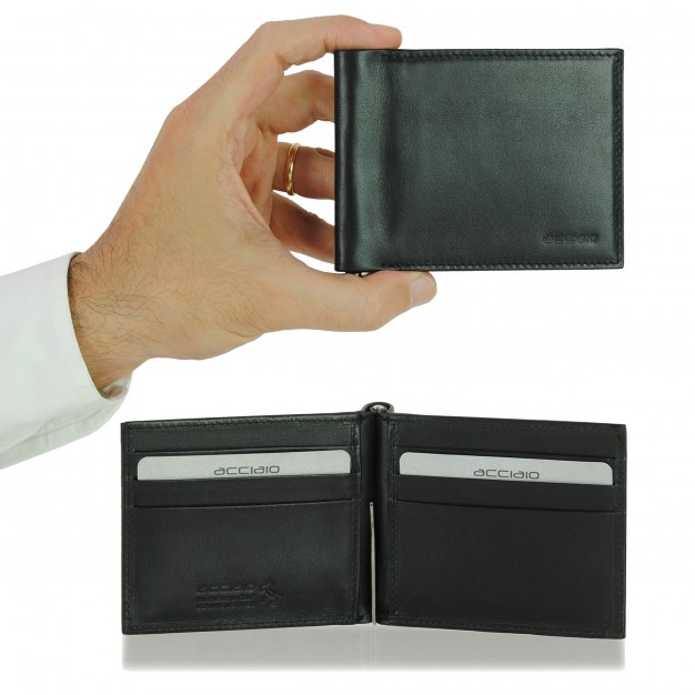 Wallet Money Clip in Smooth Leather