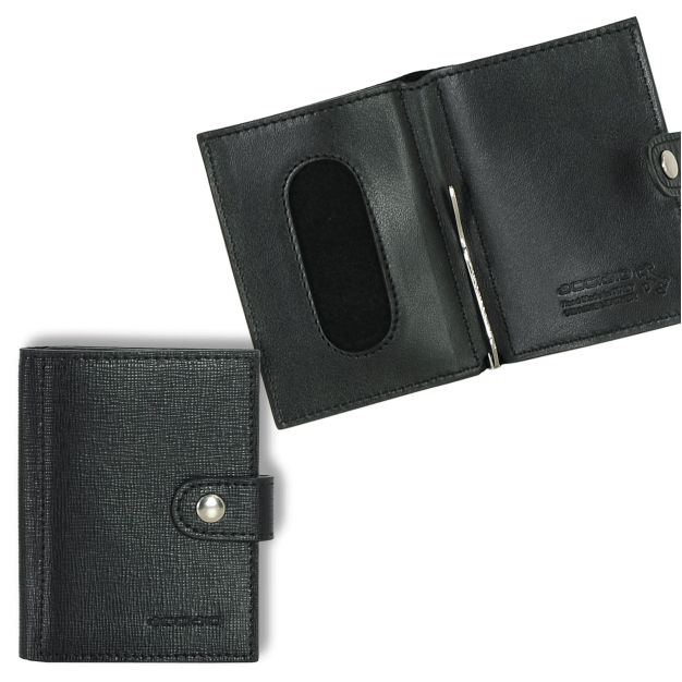 Mini Men's Wallet with Money Clip in Saffiano