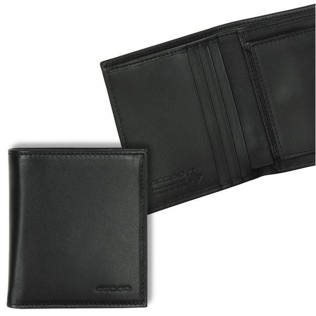 Pocket Wallet with coin pocket in Smooth Leather